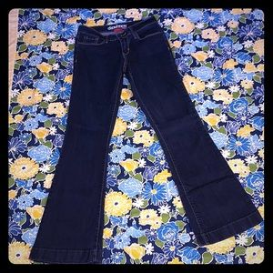 Dark wash boot cut flare jeans